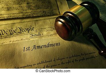 først ændring, til, den, forfatning