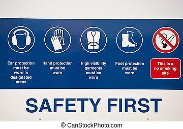 først, sikkerhed, tegn