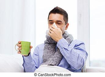 fújás, tea, beteg, influenza, orr, ivás, ember