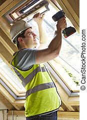 fúr, munkás, ablak, szerkesztés, elhelyez, használ