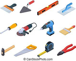 fúr, rendbehozás, állhatatos, isometric., szerszám, ezermester, elszigetelt, felszerelés, festék, vektor, kézműves, saját szerkesztés, eszközök, 3