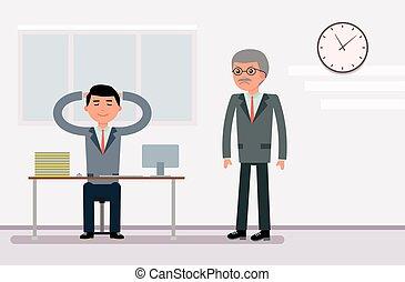 fúria, diretor, escriturário, banco, descansar