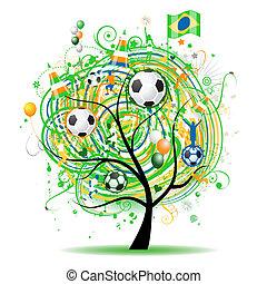 fútbol, árbol, diseño, bandera brasileña