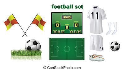 fútbol, accesorios, kit