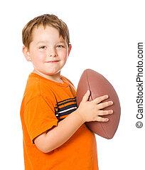 fútbol, aislado, norteamericano, niño, blanco, juego