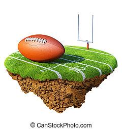fútbol americano, campo, meta, y, pelota, basado, en, poco, planeta