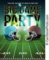 fútbol americano, grande, juego, fiesta, cartel