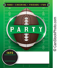 fútbol americano, plantilla de la fiesta, ilustración