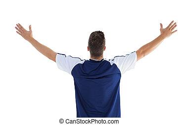 fútbol, azul, jugador, victoria, celebrar