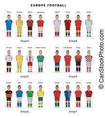 fútbol, championship., nacional, jugadores equipo, uniform.,...