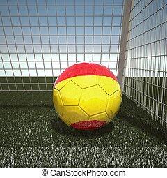 fútbol, con, bandera, de, españa