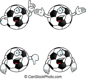 fútbol, Conjunto, caricatura, llanto
