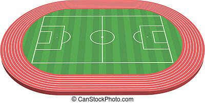 fútbol, dimensional, 3, tono, campo