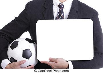 fútbol, director, asimiento, pelota