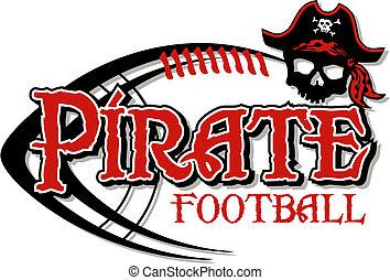 fútbol, diseño, pirata, cráneo