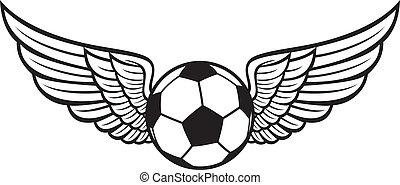 fútbol, emblema, alas, pelota
