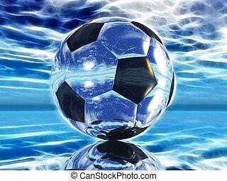 fútbol, en, un, fondo azul