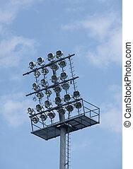 fútbol, estadio, luces