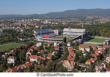fútbol, estadio, maksimir, club, campo, dinamo, funcionario