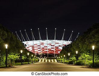 fútbol, estadio, noche