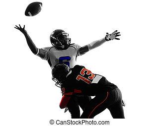 fútbol, fumble, norteamericano, quarterback, jugador, botar...