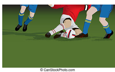 fútbol, futbol, aparejo, cicatrizarse