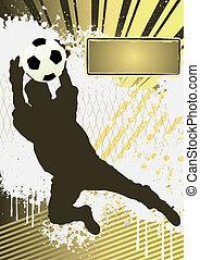 fútbol, grunge, cartel, plantilla, con, jugador del fútbol, silueta