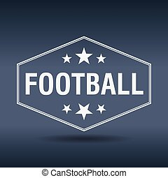 fútbol, hexagonal, blanco, vendimia, estilo retro, etiqueta