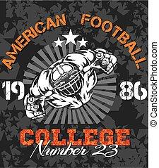 fútbol, -, ilustración, camiseta, norteamericano, vector
