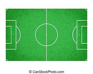 fútbol, -, ilustración, campo, vector, futbol