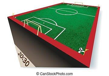 fútbol, -, ilustración, campo, vector, perspectic, futbol, vista