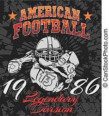 fútbol, ilustración, norteamericano, -, camiseta, vector