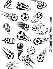 fútbol, o, futbol, movimiento, pelotas, conjunto