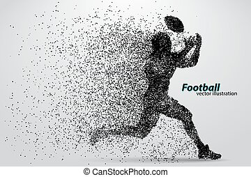 fútbol, silueta, rugby., particle., jugador, footballer ...