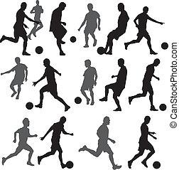 fútbol, silueta, vector