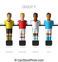 fútbol, tabla, foosball, jugadores