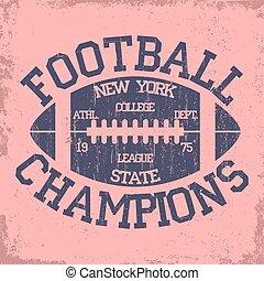 fútbol, tipografía, york, nuevo, logotipo, deporte