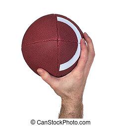 fútbol, tiro, quarterback, mano