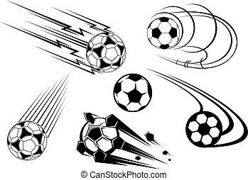 fútbol, y, futbol, símbolos, y, mascotas