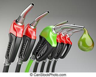 fúvóka, zöld, pumpa, piros, gáz