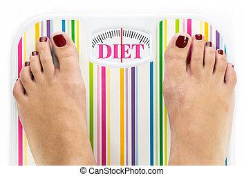"""füße, auf, digitalanzeige, mit, wort, """"diet"""", auf, wählscheibe"""