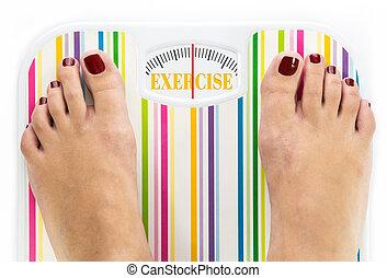 """füße, auf, digitalanzeige, mit, wort, """"exercise"""", auf, wählscheibe"""