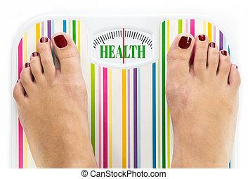 """füße, auf, digitalanzeige, mit, wort, """"health"""", auf, wählscheibe"""