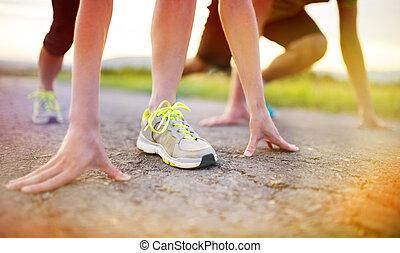 füße, paar, closeup, rennender