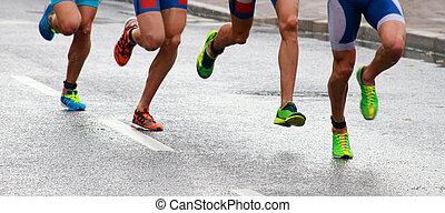 füße, rennender , beine, bunte