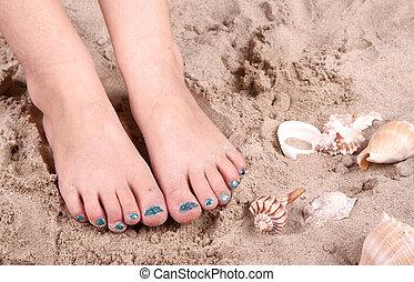 füße, sand, kind