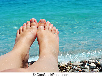 füße, sandstrand