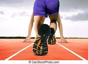 füße, spur, rennender , mann