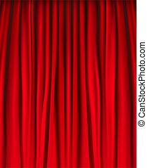 függöny, bársony, háttér, piros