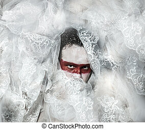 függöny, befűz, alkat, maszk, rejtély, befedett, white piros, ember